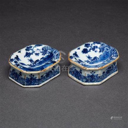 A Pair of Blue and White Salt Cellars