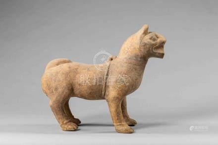 Figuration d'un chien portant un collier debout en arrêt à l'allure féroce, gue