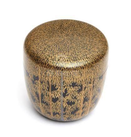 Boîte à thé laquée (natsume) décorée de bambous en laque makie or sur fond noir