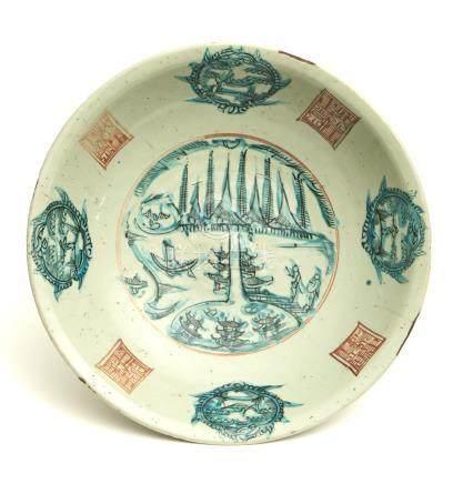 Grand plat circulaire Swatow (vaisselle Zhangzhou de la province de Fujian) dot