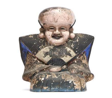 Sculpture en céramique polychrome représentant Fukurokuju, déguisé en serviteur