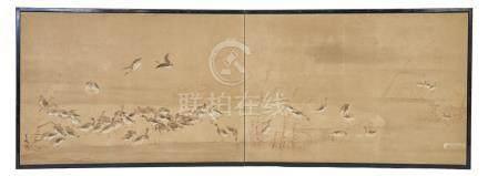 Petit paravent (byobu) à deux panneaux pour salon de thé, représentant un vol d