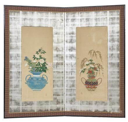 Lot de deux paravents à deux panneaux (byobu), chacun représen-tant une peintur