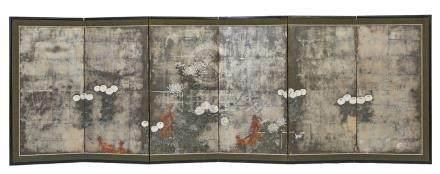Ensemble de deux paravents (byobu) à six panneaux décorés d'une peinture polych
