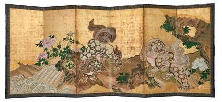 Rare ensemble de deux paravents (byobu) à six panneaux décorés d'une peinture a