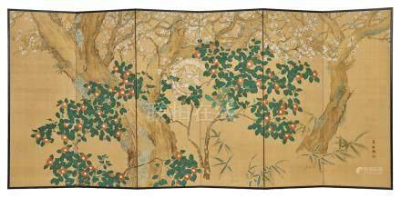 Lot de deux paravents (byobu) à six panneaux peints sur soie: Un panneau à déco