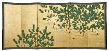 Lot de deux paravents (byobu) à six panneaux représentant des branches de pin p