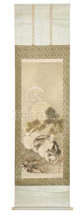 Rouleau (kakejiku) orné d'une peinture de style Nihonga , représentant des lapi