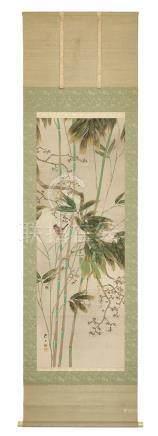 Rouleau à suspendre (kakejiku) avec une peinture polychrome représentant une fl