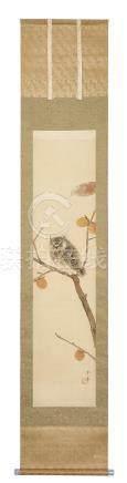 Rouleau (kakejiku) orné d'une peinture polychrome représentant un hibou (Mimizu