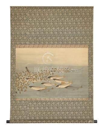 Rouleau (kakejiku) orné d'une peinture polychrome horizontale pour salon de thé