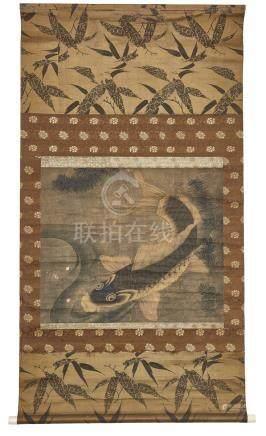 Rouleau (kakejiku), orné d'une peinture anonyme à décor de carpe koi.H.: 146 cm