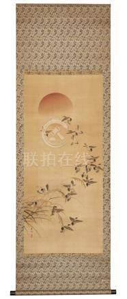 Rouleau (kakejiku) représentant des moineaux volant au milieu des tiges de riz,
