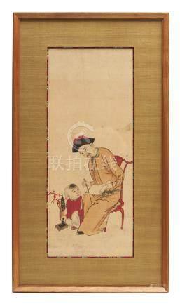 Trois impressions Nagasaki en couleur, représentant chacune un gentilhomme chin