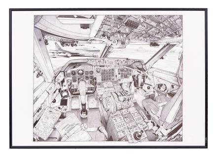 Impression de l'intérieur du cockpit d'un Boeing 747, avec vue sur un avion de