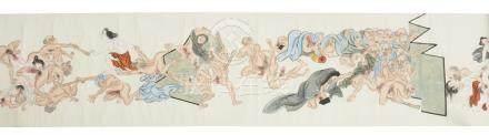 Rouleau orné d'une peinture érotique (shunga) attribué à Kawanabe Kyosai (1831-