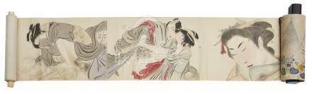 Rouleau anonyme avec dix dessins érotiques polychromes (shunga), certains dessi