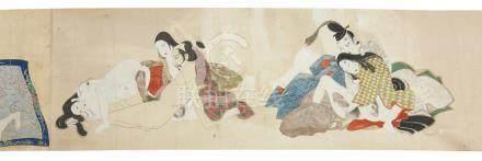 Rouleau orné de dix peintures polychromes érotiques anonymes (shunga), représen