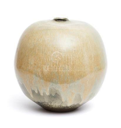 Grand vase en grès rond (tsubo) orné d'une glaçure dégoulinante de couleur marr
