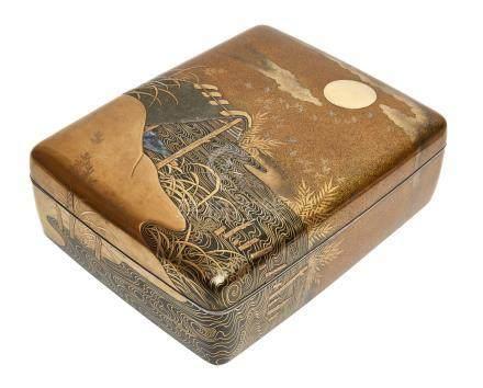 Grande boîte laquée aux coins arrondis (ryoshibako), décorée sur les côtés et l