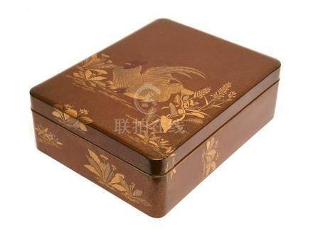 Lot de deux boites laquées : une grande boîte à documents (ryoshibako) et une é