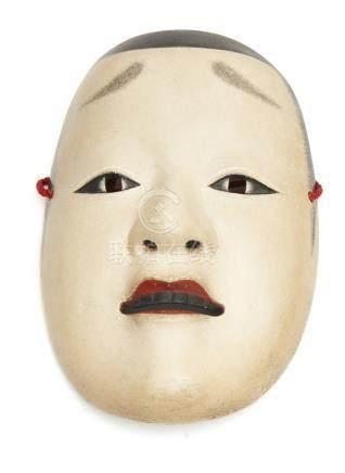 Masque Nō d'une jeune fille (Ko'omote), avec une boucle légèrement ouverte mont
