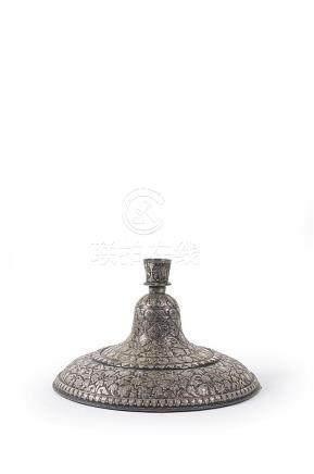INDE Lucknow - Vers 1880 Large base de narghilé (huqqa) et s