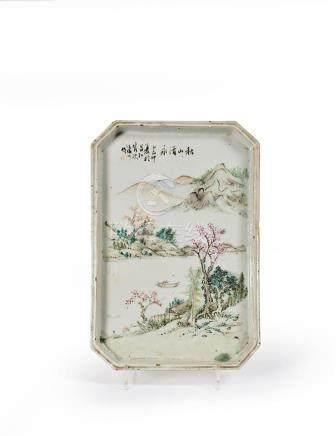 CHINE - Début du XXe siècle Petit plateau rectangulaire à pa
