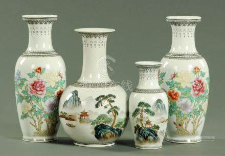 Four Chinese porcelain vases, late 20th century,
