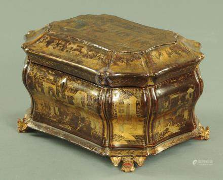 An early 19th century Chinese lacquered tea caddy, circa 1810 complete with two lead canisters,