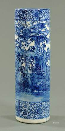 A Japanese stencilled blue and white stick stand, early 20th century,