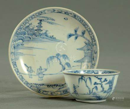 A Chinese early 18th century blue and white tea bowl and saucer, circa 1725, from the Ca Mau wreck,