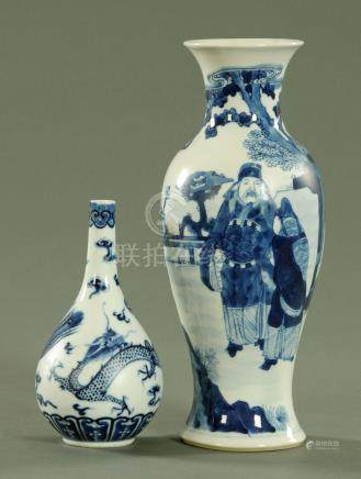 Two Chinese blue and white vases, late 19th century,