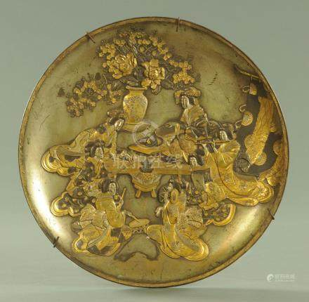 A Japanese patinated antimony charger, circa 1890/1900,
