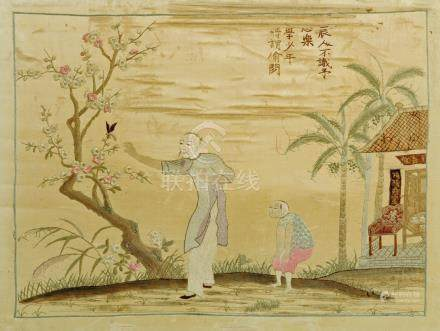 A Chinese silk embroidery, 18th/19th century, depicting a young boy and man,