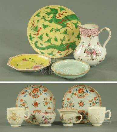 Chinese ceramics 18th/19th century, comprising a flared petal shaped cup,