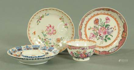 A Chinese Famille Rose tea bowl and saucer, 18th century,