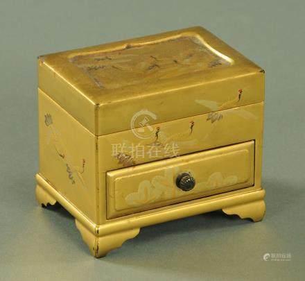 A Japanese miniature tabletop chest, Meiji - Taisho period,