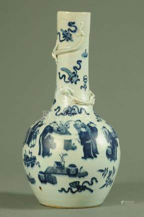 A Chinese blue and white vase, 18th century, the neck with applied Chilong amongst precious objects,