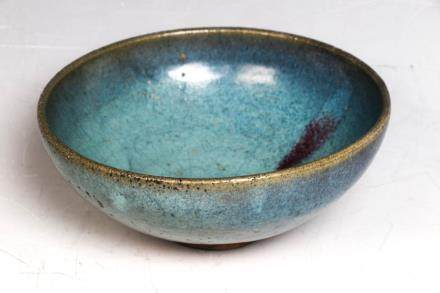 A LARGE JUN PURPLE SPLASHED BOWL