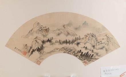 WEN QIQIU (1862-1941) LANDSCAPE FAN