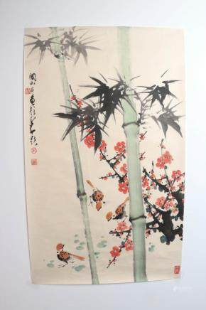 ZHAO SHAOANG(1905-1998) AND GUAN SHANYUE(1912-2000) BAMBOO AND BIRD