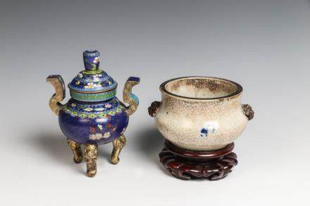GE-TYPE AND CLOISONNE ENAMEL CENSER