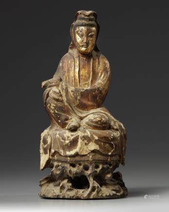 A Chinese gilt-lacquered wood Guanyin