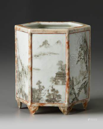 A Chinese hexagonal imitation-marble and en grisaille-decorated hexagonal brush pot, bitong