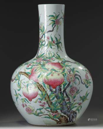 A large Chinese famille rose 'nine peaches' bottle vase, tianqiuping