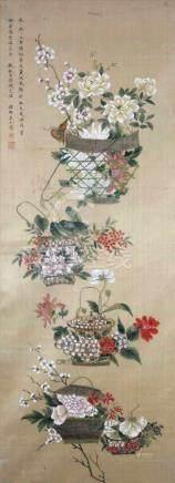 Rollbild China. Alt. Gemalt.97 cm x 36 cm. Mit Signaturstempel.Scroll painting China. Old. Painted.