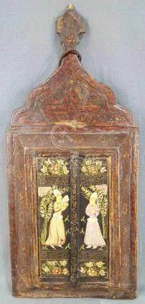 Persische Kaffeehaus-Malerei mit Spiegel im Quadjar Stil.47 cm x 21 cm. Malerei auf Holz.