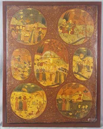 Darstellung verschiedener Religionen. Gemälde.58 cm x 45 cm. Wohl Quadjar persisch, 19. Jahrhundert.