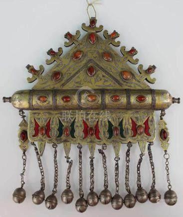 Collier Anhänger. Zentralasien. Turkmenisch. Wohl 19. Jahrhundert.25 cm x 25 cm. Silber. Mit